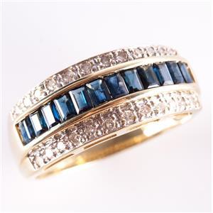 14k Yellow Gold Baguette Cut Sapphire & Diamond Cocktail Ring 1.68ctw