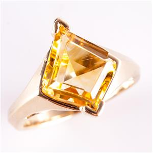 10k Yellow Gold Kite Cut Citrine Solitaire Cocktail Ring 3.0ct