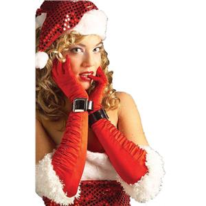 Miss Santa Mrs Claus Red Sexy Elbow Gloves