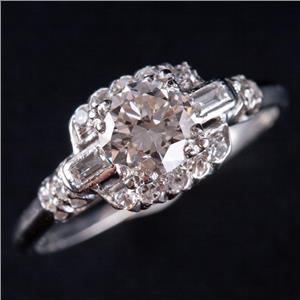 Vintage 1930's Platinum Diamond Solitaire Engagement Ring W/ Accents 1.22ctw