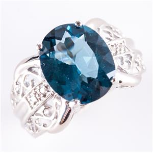 """10k White Gold Oval Cut """"AA"""" London Blue Topaz Solitaire Ring 6.0ct"""