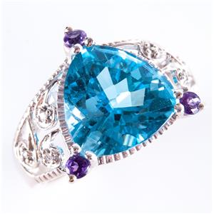 10k White Gold Trillion Cut Swiss Blue Topaz & Amethyst & Diamond Ring 6.61ctw