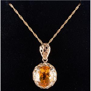 "14k Yellow Gold Oval Cut Citrine Solitaire Pendant W/ 20"" Chain 2.45ct"