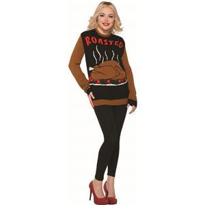 Thanksgiving Sweater, Roasted Turkey Size Large