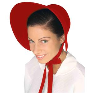 Red Handmaid Colonial Pilgrim Pioneer Bonnet Felt