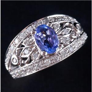 14k White Gold Tanzanite Solitaire Engagement Ring W/ Diamond Accents 1.45ctw
