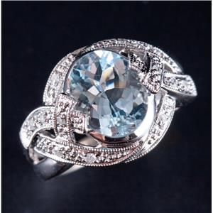 14k White Gold Aquamarine Solitaire Cocktail Ring W/ Diamond Accents 2.63ctw