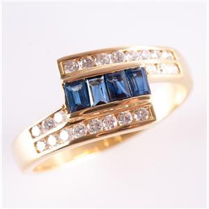 18k Yellow Gold Baguette Cut Sapphire & Diamond Bypass Style Ring .87ctw