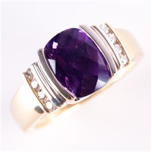14k Yellow & White Gold Amethyst Solitaire Cocktail Ring W/ Diamonds 1.97ctw