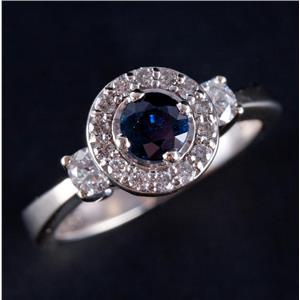 14k White Gold Round Cut Sapphire & Diamond Halo Style Engagement Ring 1.21ctw
