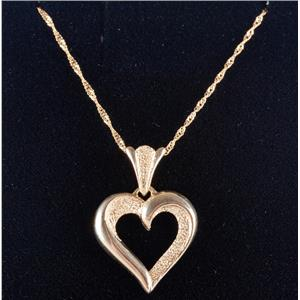 "14k Yellow Gold Beverly Hills Gold Heart Pendant W/ 20"" Chain 2.3g"
