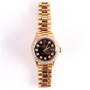 Vintage 1960s 18k Yellow Gold Ladies Rolex Oyster Perpetual Presidential Watch