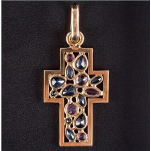 18k Yellow Gold Multi-Cut Sapphire & Ruby Cross Pendant 1.86ctw 3.5g