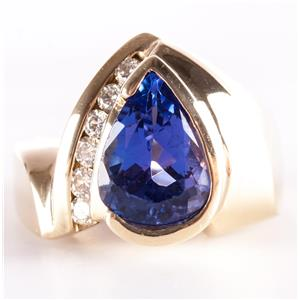14k Yellow Gold Pear Cut Tanzanite Solitaire Cocktail Ring W/ Diamonds 6.0ctw