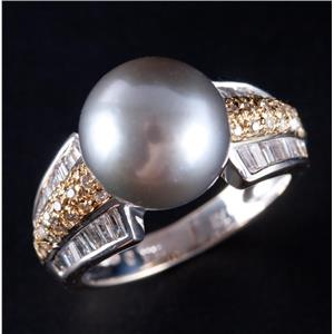 18k Yellow & White Gold Grey Cultured Pearl Solitaire Ring W/ Diamonds .48ctw
