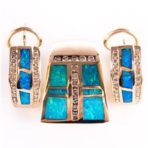 14k Yellow Gold Blue Opal & Diamond Pendant Huggie Earring Set 1.36ctw
