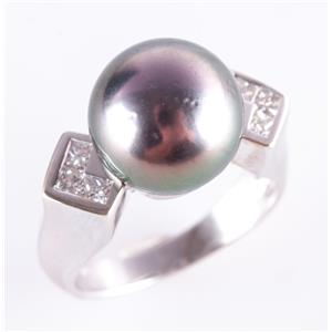 18k White Gold Tahitian Cultured Pearl Solitaire Ring W/ Diamond Accents .42ctw