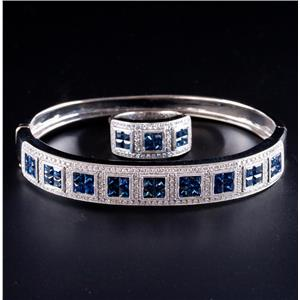 14k White Gold Princess Cut Sapphire & Diamond Bracelet / Ring Set 9.87ctw