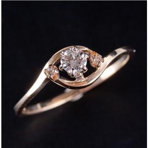 14k Yellow Gold Round Cut Diamond Solitaire Engagement Ring W/ Accents .14ctw