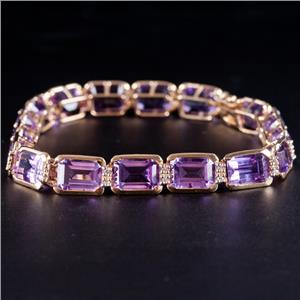 14k Yellow Gold Emerald Cut Amethyst & Diamond Tennis Bracelet 17.17ctw