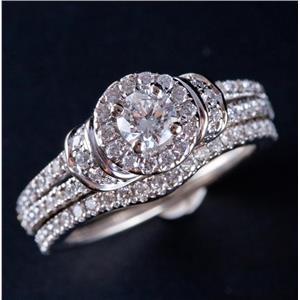 Vera Wang 14k White Gold Round Cut Diamond Engagement Wedding Ring Set 1.32ctw