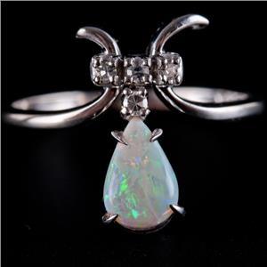 14k White Gold Pear Cabochon Cut Opal & Diamond Dangle Style Ring .56ctw