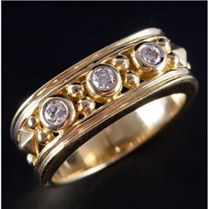"18k Yellow Gold Round Cut ""G"" Diamond Three-Stone Style Ring .10ctw"