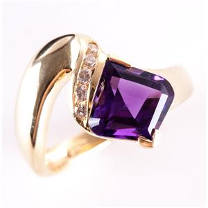 14k Yellow Gold Fancy Cut Amethyst Solitaire Ring W/ Diamond Accents 3.73ctw