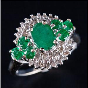 14k White Gold Oval & Round Cut Emerald & Diamond Cocktail Ring 1.40ctw