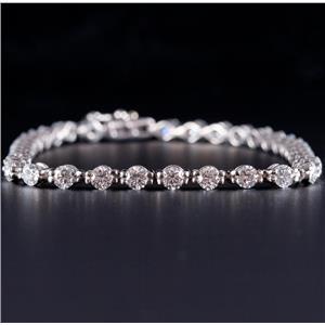 "Platinum Round Brilliant Cut Diamond Tennis Bracelet 3.60ctw 7.25"" Length 16.1g"