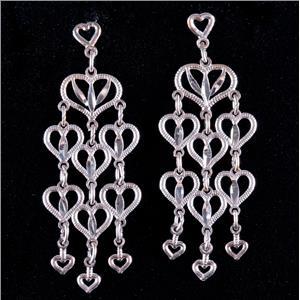 14k White Gold Heart Style Dangle Earrings W/ Butterfly Backs 1.6g