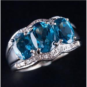 10k White Gold Oval Cut London Blue Topaz & Diamond Cocktail Ring 4.10ctw