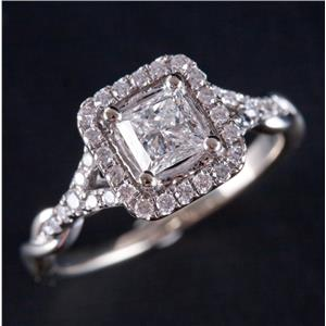 14k White Gold Princess & Round Cut Diamond Halo Engagement Ring W/ Cert .91ctw