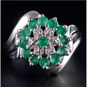 10k White Gold Round Cut Emerald & Diamond Floral Flower Cluster Ring .67ctw