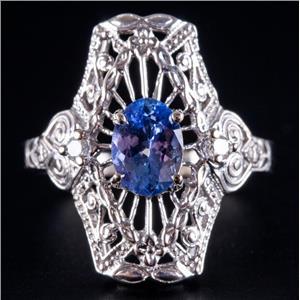 14k White Gold Tanzanite Solitaire Filigree Style Ring W/ Diamond Accents .91ctw