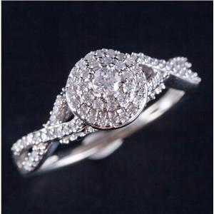 10k White Gold Round Cut Diamond Double Halo Style Engagement Ring .62ctw