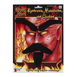 Devil Man Facial Hair Set Eyebrows Mustache and Goatee