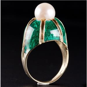 Vintage 1960's 14k Yellow Gold Cultured Round Pearl & Enamel Solitaire Ring 6.8g