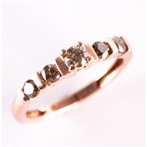 10k Rose Gold Round Cut Brown Diamond Band / Ring .40ctw