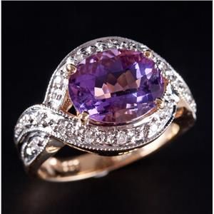 14k Yellow Gold Oval Cut Amethyst Solitaire Ring W/ Diamond Accents 2.36ctw