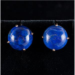 14k Yellow Gold Round Cabochon Cut Lapis Lazuli Solitaire Stud Earrings 17.5ctw