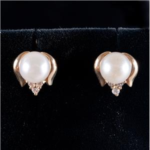 14k Yellow Gold Round Cut Cultured Pearl & Diamond Stud Earrings .09ctw