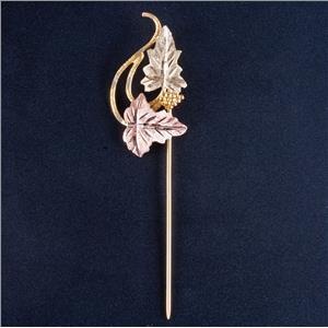 10k Yellow / Rose / Green Black Hills Gold Leaf / Floral Scarf Pin 2.2g