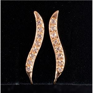 10k Yellow Gold Round Cut Cubic Zirconia Climber Style Earrings .24ctw