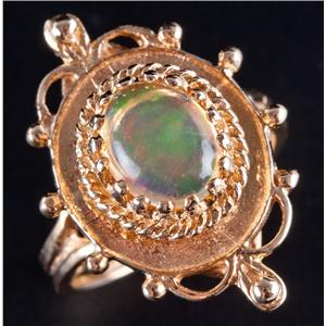 14k Yellow Gold Oval Cabochon Cut Welo Ethiopian Opal Solitaire Ring 1.35ct