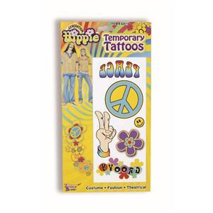 Hippie Fake Temporary Tattoos 60's Costume Accessory 62016