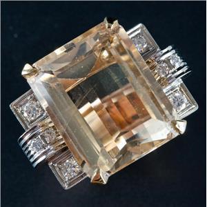 Vintage 1950's 14k White & Rose Gold Citrine & Diamond Cocktail Ring 25.64ctw