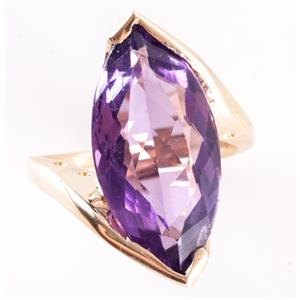 14k Yellow Gold Marquise Cut Amethyst Solitaire Cocktail Ring 8.40ct