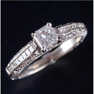 14k White Gold Princess Cut Diamond Solitaire Engagement Ring W/ Accents 1.18ctw