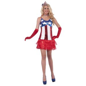 Sexy Patriotic Sparkle July 4th American Flag Sequin Flapper Costume Dress XS/S
